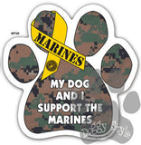 My Dog and I Support the Marines Paw Magnet