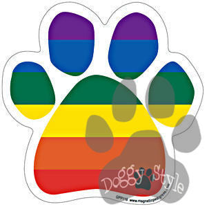 Rainbow Gay and Lesbian Pride Dog Paw Magnet