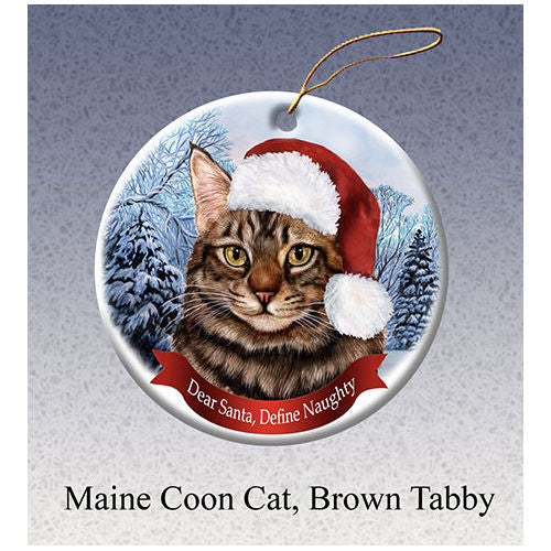 Maine Coon Brown Tabby Cat Howliday Cat Christmas Ornament