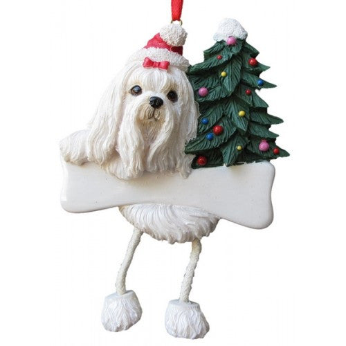 Dangling Leg Maltese Dog Christmas Ornament