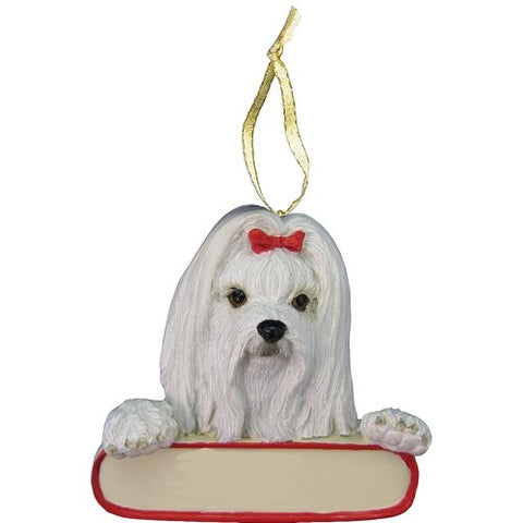 Maltese Santa's Pal Christmas Ornament