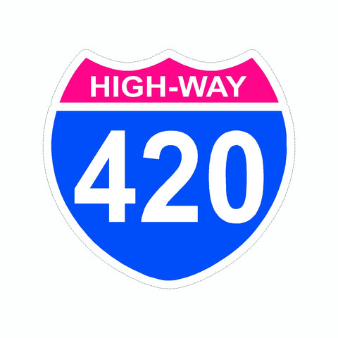 Marijuana High Way 420 Vinyl Car Sticker
