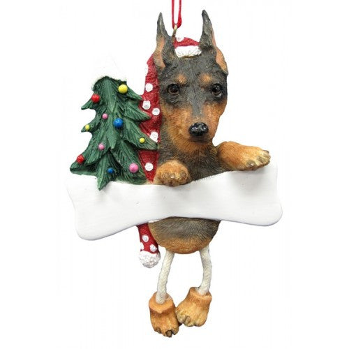 Dangling Leg Miniature Pinscher Dog Christmas Ornament