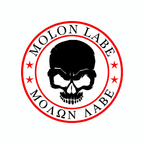Molon Labe Skull White Come And Take It 2nd Amendment Car Sticker