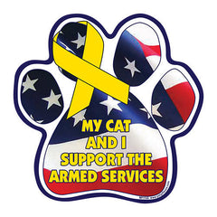 My Cat and I Support the Armed Services Paw Magnet