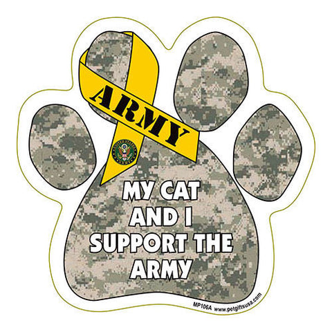 My Cat and I Support the Army Paw Magnet