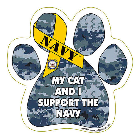 My Cat and I Support the Navy Paw Magnet