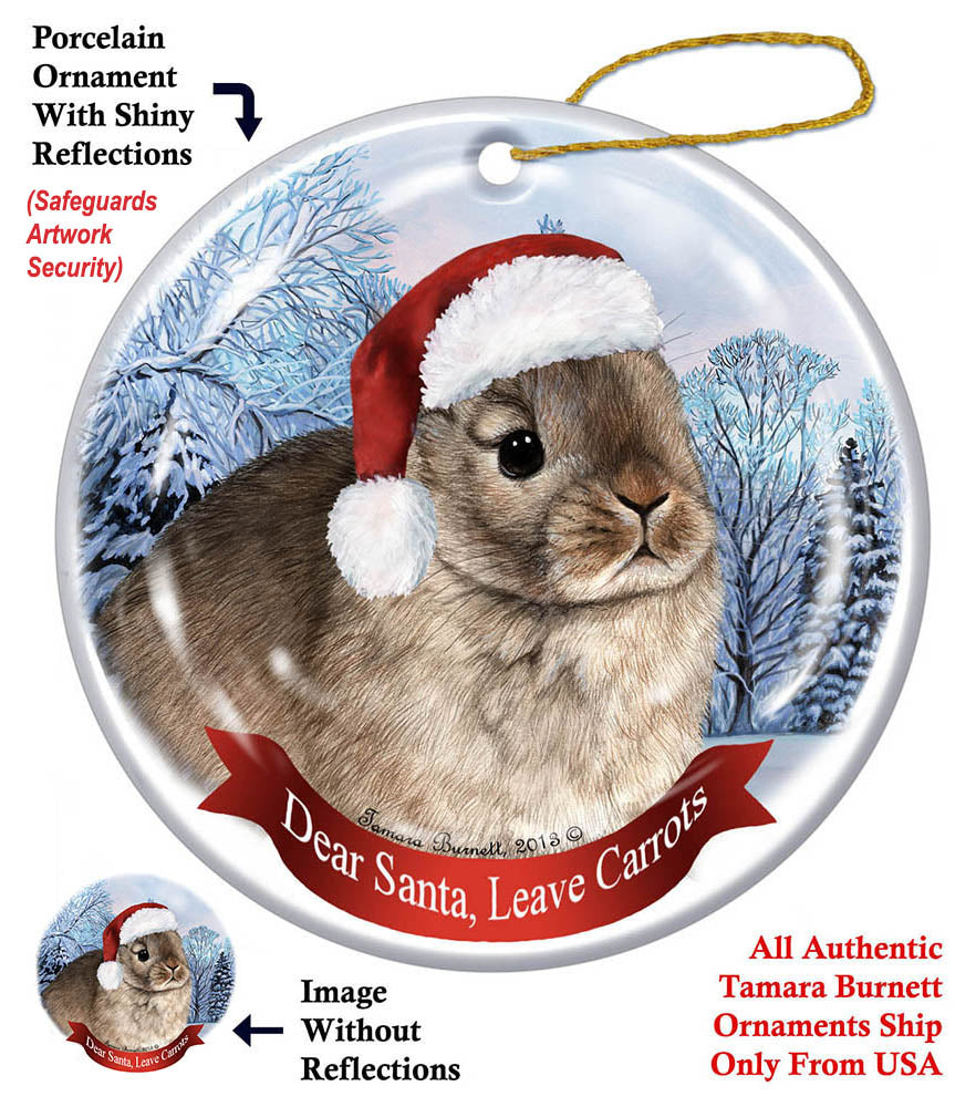Netherland Dwarf Rabbit Howliday Dog Christmas Ornament