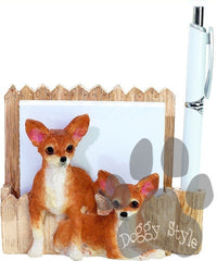 Tan Chihuahua Dog Notepad Holder includes Pad and Pen