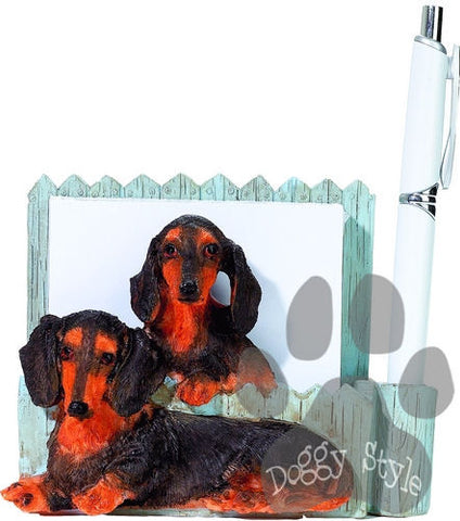 Black Dachshund Dog Notepad Holder includes Pad and Pen