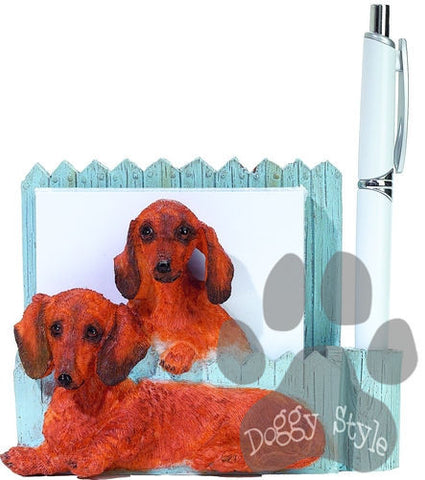 Red Dachshund Dog Magnetic Notepad Holder includes Pad and Pen