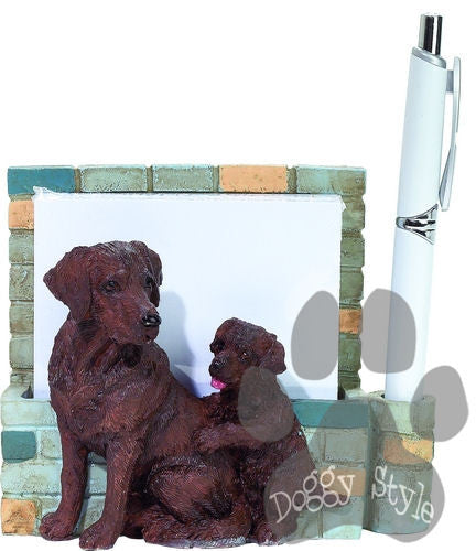 Chocolate Labrador Dog Magnetic Notepad Holder includes Pad and Pen