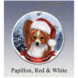 Papillon Red Howliday Dog Christmas Ornament