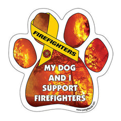 My Dog And I Support Fire Fighters Dog Paw Magnet