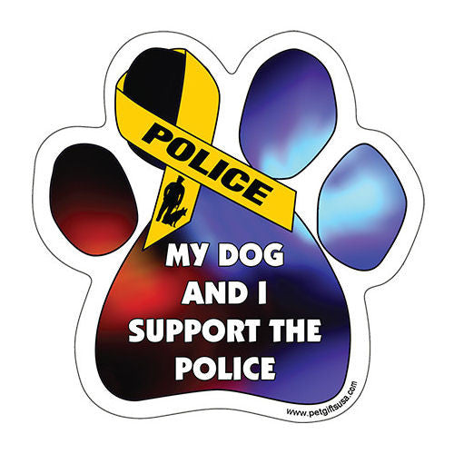 My Dog And I Support Police Dog Paw Magnet