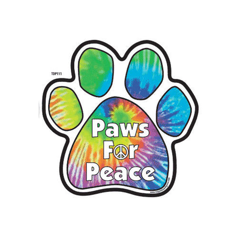 Paws for Peace Tie Dye Dog Paw Magnet