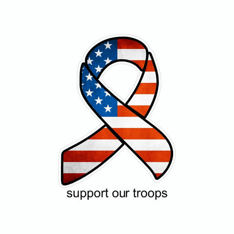 Peace US American Flag Support Our Troops Ribbon Vinyl Car Sticker