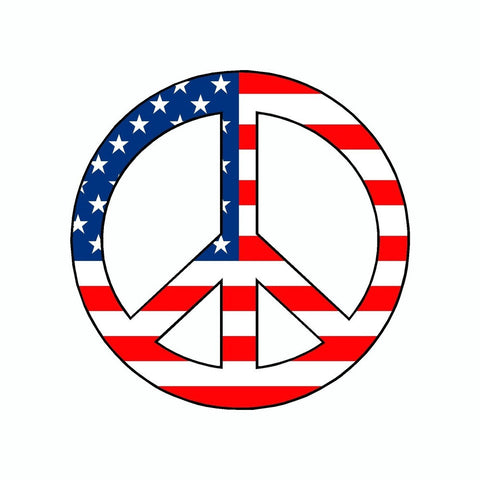 Peace US American Flag Symbol Vinyl Car Sticker