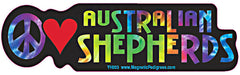 Peace Love Australian Shepherd Yippie Hippie Dog Car Sticker