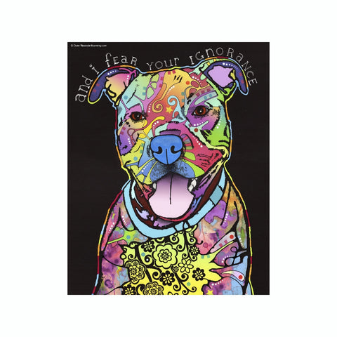 Pit Bull And I Fear Your Ignorance Dean Russo Vinyl Dog Car Sticker