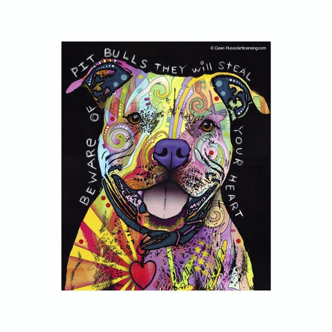 Pit Bull Beware They Will Steal Your Heart Dean Russo Vinyl Dog Car Sticker