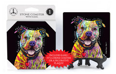 Pit Bull Beware They Will Steal Your Heart Dean Russo Drink Coaster