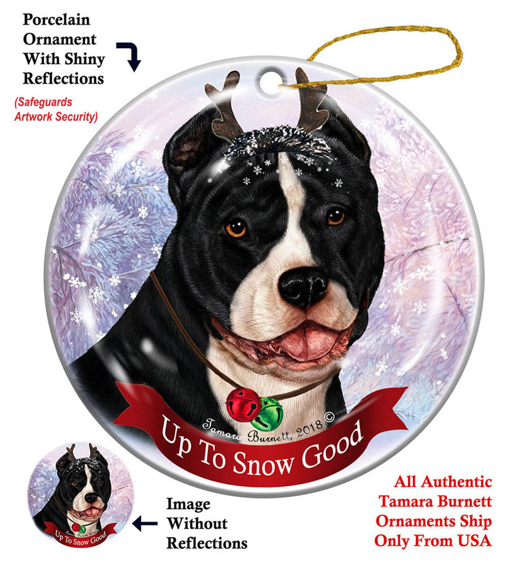 Pit Bull Black and White Howliday Dog Christmas Ornament ...