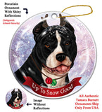 Pit Bull Black and White Howliday Dog Christmas Ornament