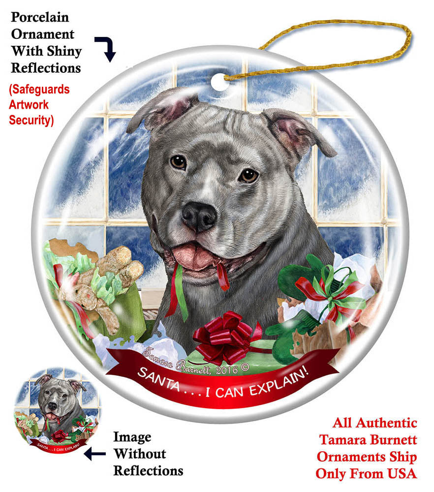 Pit Bull Terrier Blue Uncropped Howliday Dog Christmas ...