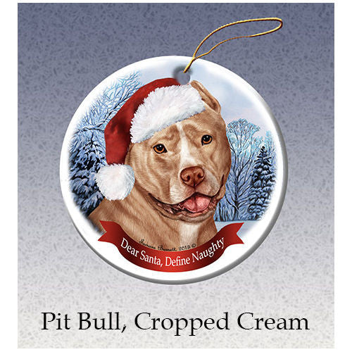 Pit Bull Terrier Cream Cropped Howliday Dog Christmas Ornament