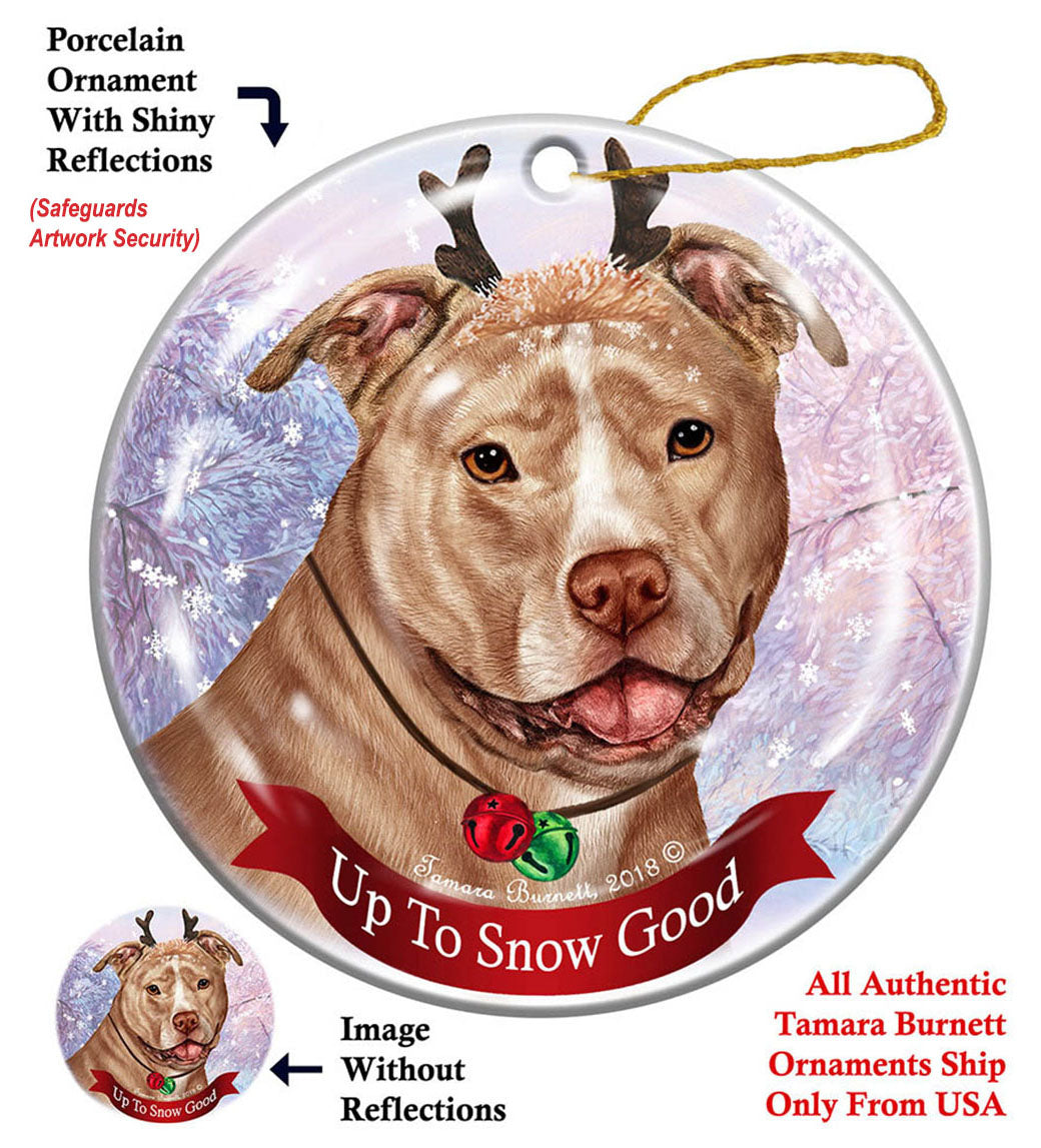 Pit Bull Terrier Cream Uncropped Howliday Dog Christmas ...