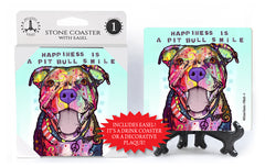 Pit Bull Happiness Is A Pit Bull Smile Dean Russo Drink Coaster