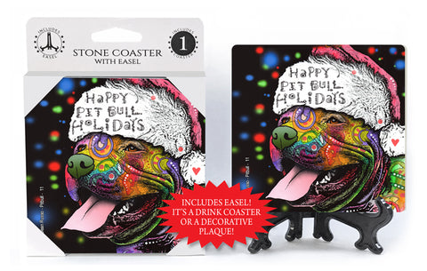 Pit Bull Happy Holidays Dog Dean Russo Drink Coaster