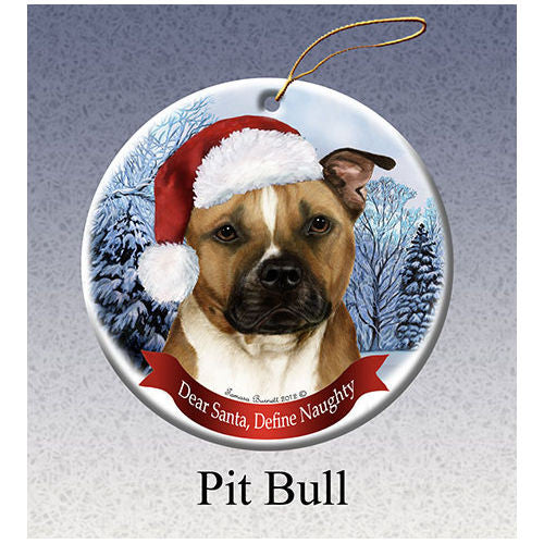 Pit Bull Howliday Dog Christmas Ornament