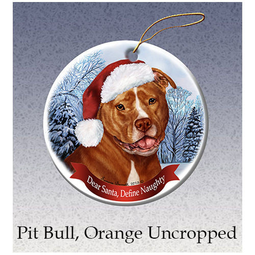Pit Bull Terrier Orange Uncropped Howliday Dog Christmas Ornament