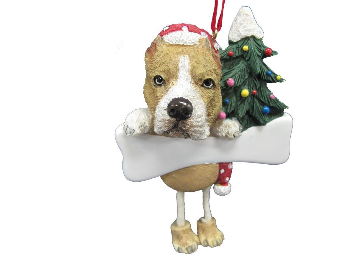 Dangling Leg Pit Bull Terrier Tan and White Christmas Ornament