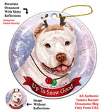 Pit Bull Terrier White Cropped Howliday Dog Christmas Ornament