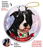 Pit Bull Black and White Uncropped Howliday Dog Christmas Ornament