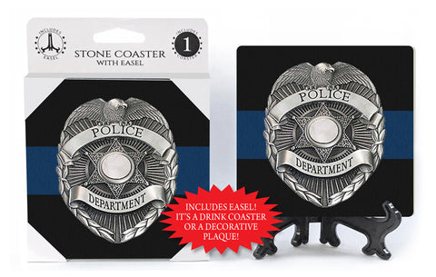 Police Badge Stone Drink Coaster