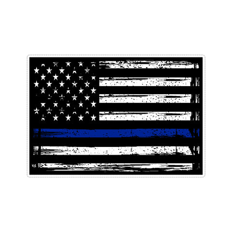 Thin Blue Line US American Flag Support Police Stressed Vinyl Car Sticker