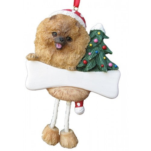 Dangling Leg Pomeranian Dog Christmas Ornament