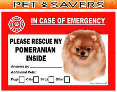Pomeranian Dog Emergency Window Cling
