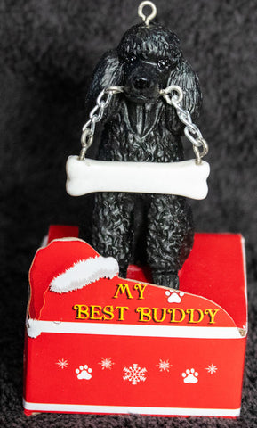 Poodle Black Statue Best Buddy Christmas Ornament