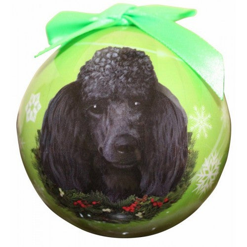 Poodle Black Shatterproof Dog Christmas Ornament