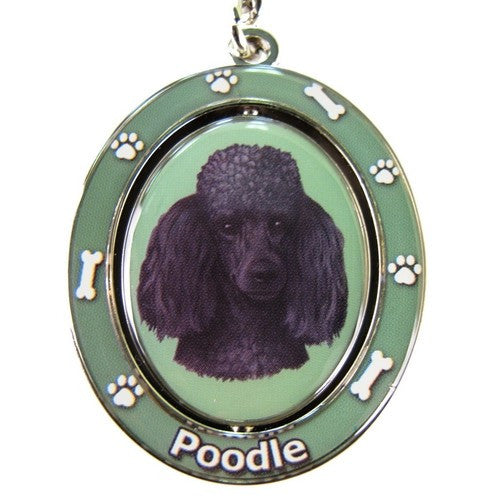Poodle Black Dog Spinning Keychain