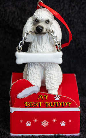 Poodle White Statue Best Buddy Christmas Ornament