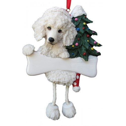 Dangling Leg White Poodle Dog Christmas Ornament