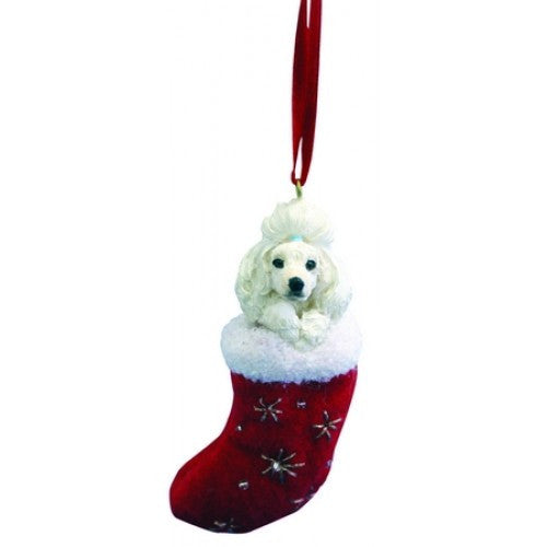 Santa's Little Pals Poodle White Dog Christmas Ornament