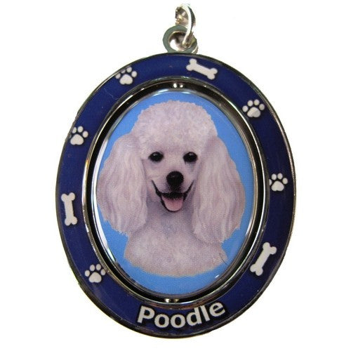 Poodle White Dog Spinning Keychain