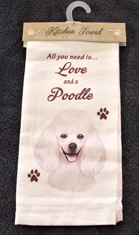 Poodle White Dish Towel